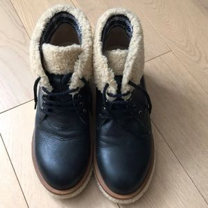 CHANEL shearling ankle boots